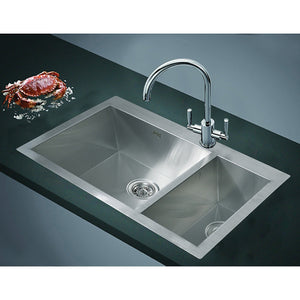 1.2mm Handmade Double Stainless Steel Sink with Waste - 745x505mm