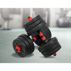 20kg Adjustable Rubber Dumbbell Set Barbell Home GYM Exercise Weights