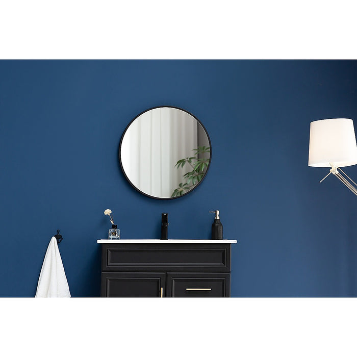 70cm Round Wall Mirror Bathroom Makeup Mirror by Della Francesca - Black