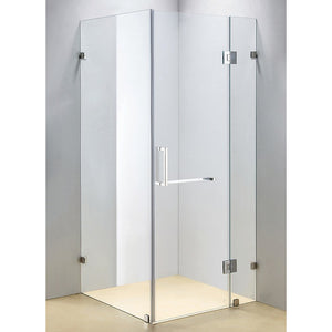 100 x 100cm Frameless 10mm Glass Shower Screen By Della Francesca Chrome Hinges/Brackets and Square Handle