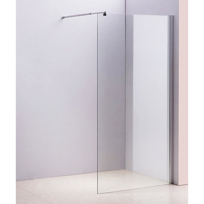 120 x 200cm Frameless 10mm Safety Glass Shower Screen in Round Chrome