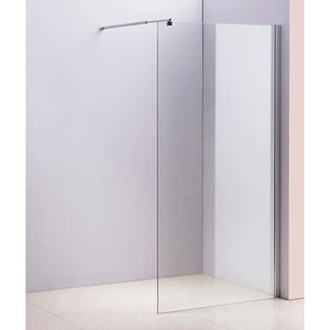 100 x 210cm Frameless 10mm Safety Glass Shower Screen in Round Chrome