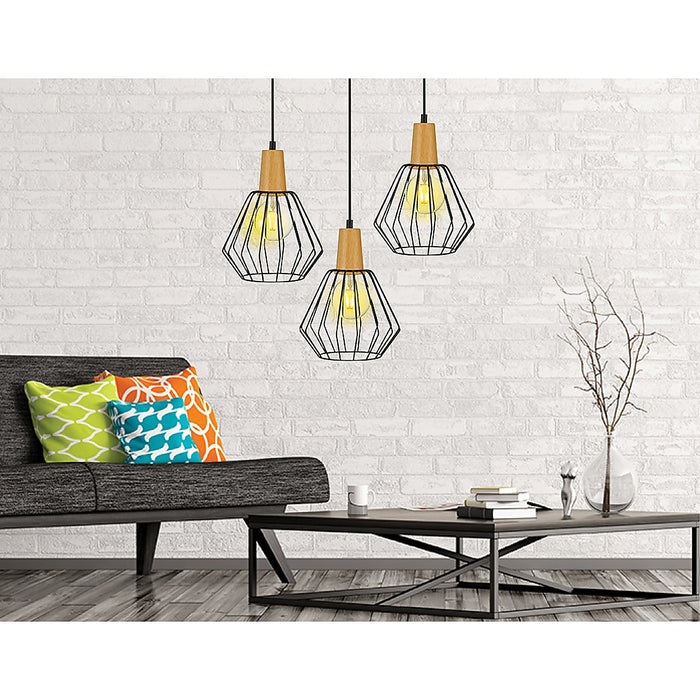 Wood Pendant Light Bar Black Lamp Kitchen Pendant Lighting Modern Ceiling Lights
