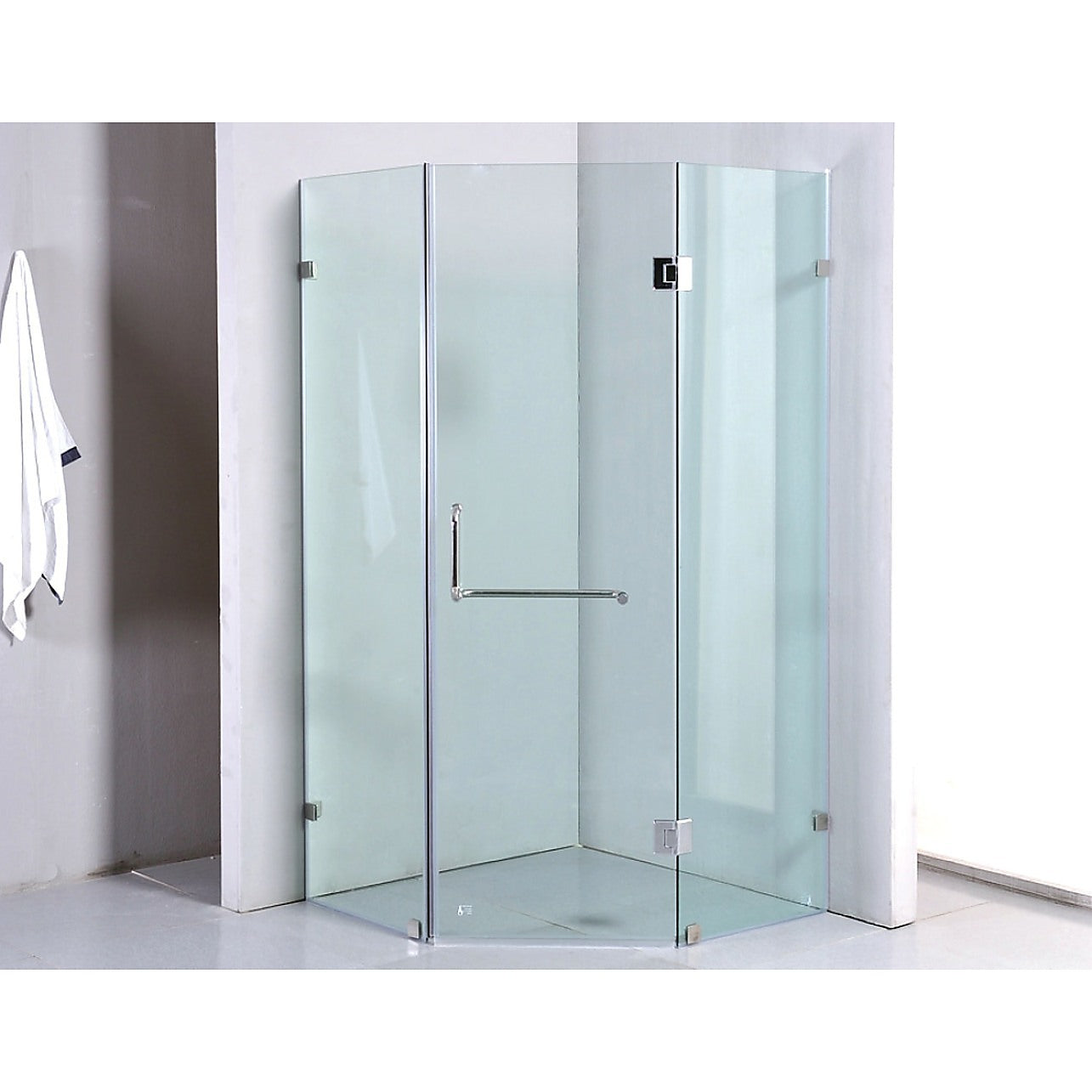 900 X 900mm Frameless 10mm Glass Shower Screen By Della Francesca Chrome Hinges Brackets And Round Handle