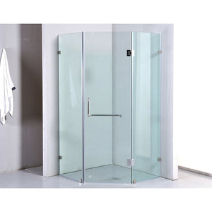 900 x 900mm Frameless 10mm Glass Shower Screen By Della Francesca Chrome Hinges/Brackets and Round Handle