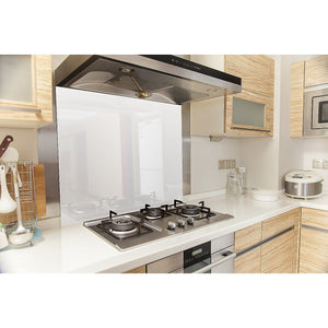 Toughened 90 x 75cm White Glass Kitchen Splashback