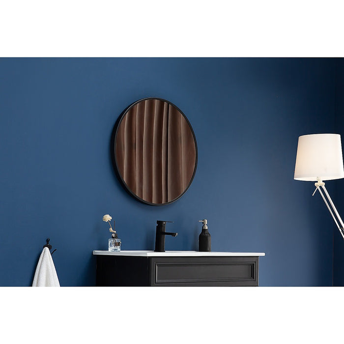 90cm Round Wall Mirror Bathroom Makeup Mirror by Della Francesca - Black