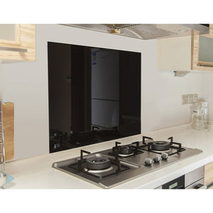 Toughened 60 x 75cm Black Glass Kitchen Splashback