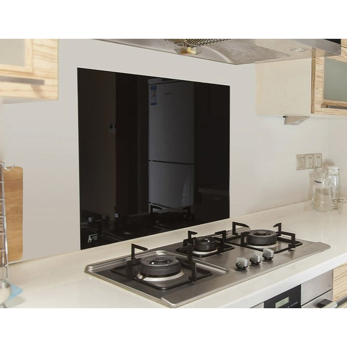 Toughened 60 x 70cm Black Glass Kitchen Splashback