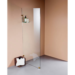 70 x 210cm Frameless 10mm Safety Glass Shower Screen Gold Finish