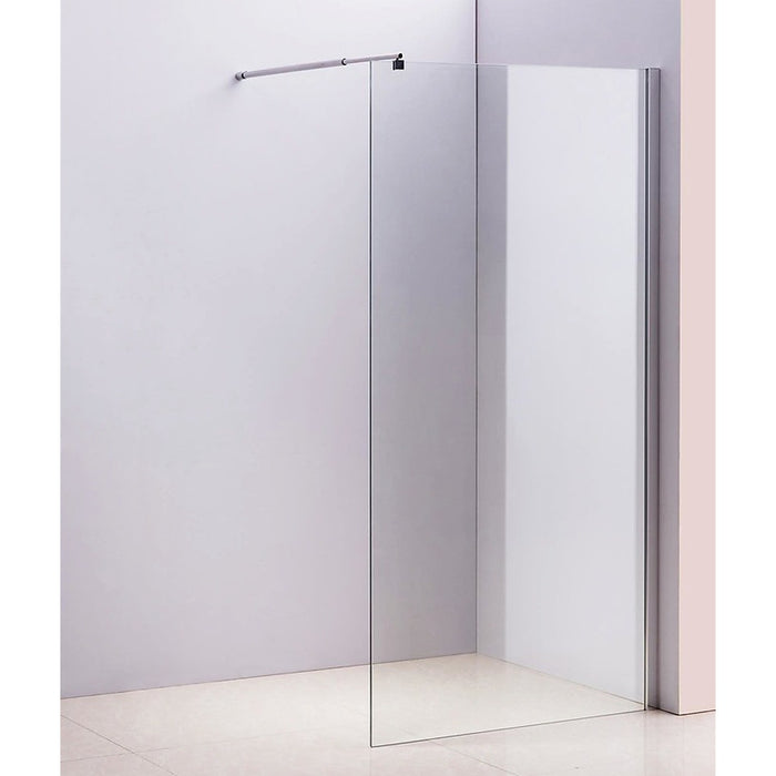 110 x 210cm Frameless 10mm Safety Glass Shower Screen in Round Chrome
