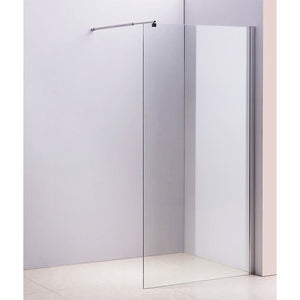 110 x 200cm Frameless 10mm Safety Glass Shower Screen in Round Chrome