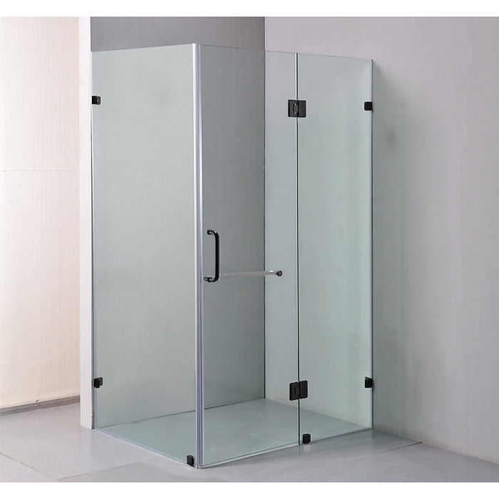 120 x 90cm Frameless 10mm Glass Shower Screen By Della Francesca Black Hinges/Brackets and Round Handle