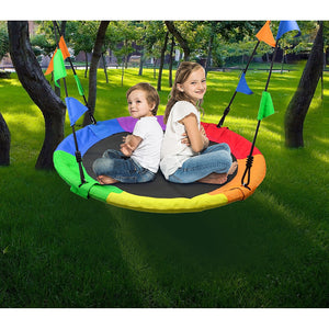 1m Tree Swing in Multi-Color Rainbow Kids Indoor/Outdoor Round Mat Saucer Swing