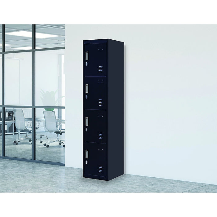 Black 4-Door Locker for Office Gym Shed School Home Storage - Padlock-operated