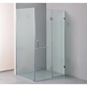120 x 90cm Frameless 10mm Glass Shower Screen By Della Francesca Chrome Hinges/Brackets and Round Handle