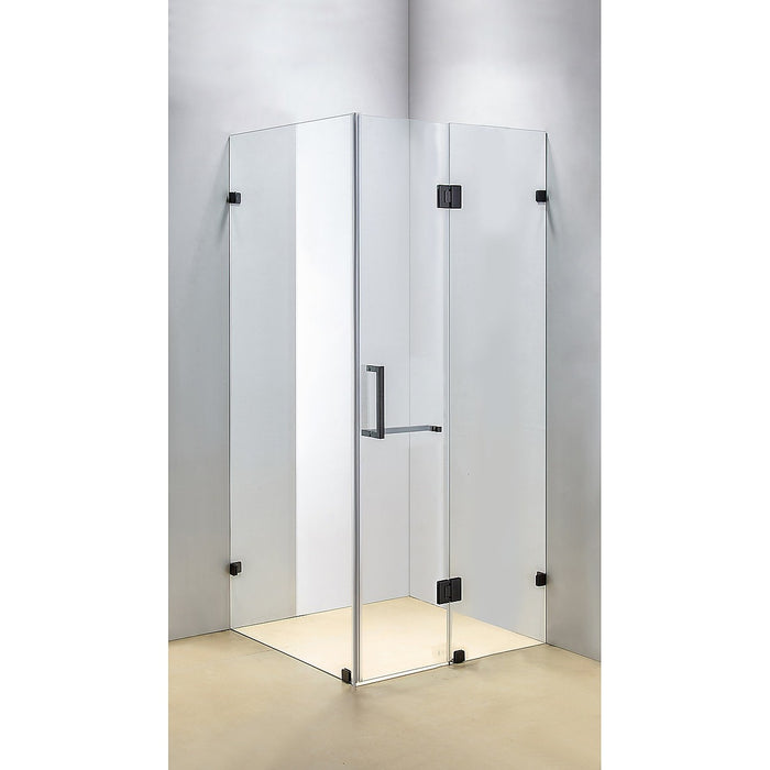 120 x 100cm Frameless 10mm Glass Shower Screen By Della Francesca BLACK Hinges/Brackets and SQUARE Handle