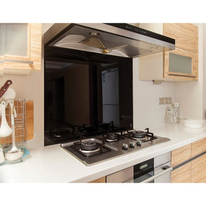 Toughened 90 x 70cm Black Glass Kitchen Splashback