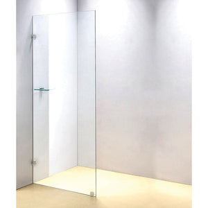 80 x 210cm Frameless 10mm Safety Glass Shower Screen Brackets: CHROME