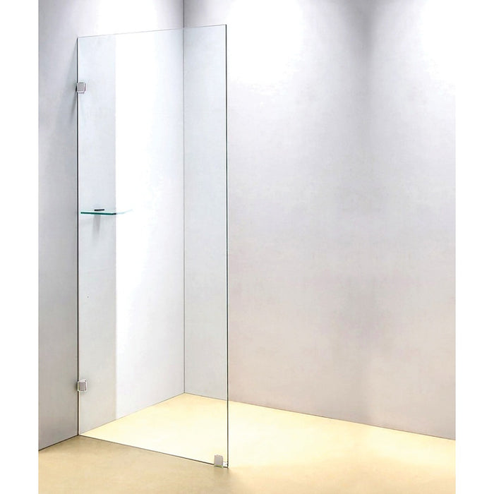 90 x 200cm Frameless 10mm Safety Glass Shower Screen Brackets: CHROME