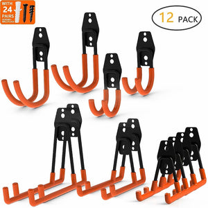 12-Pack Wall Mount Garage Hooks Tool Storage Workshop Organiser Heavy Duty Steel