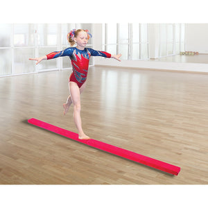 2.4m (8FT) Gymnastics Folding Balance Beam Pink Synthetic Suede