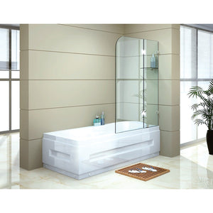 120 x 145cm Frameless Glass Bath Screen by Della Francesca Chrome