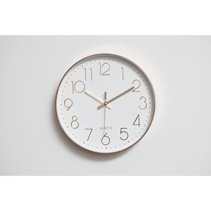 Modern Wall Clock Silent Non-Ticking Quartz Battery Operated Rose Gold