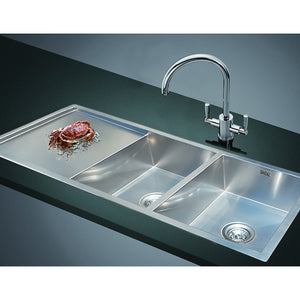 1160x460mm Handmade Stainless Steel Sink with Waste and Drain Plug - Undermount/Topmount