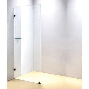 90 x 200cm Frameless 10mm Safety Glass Shower Screen Black