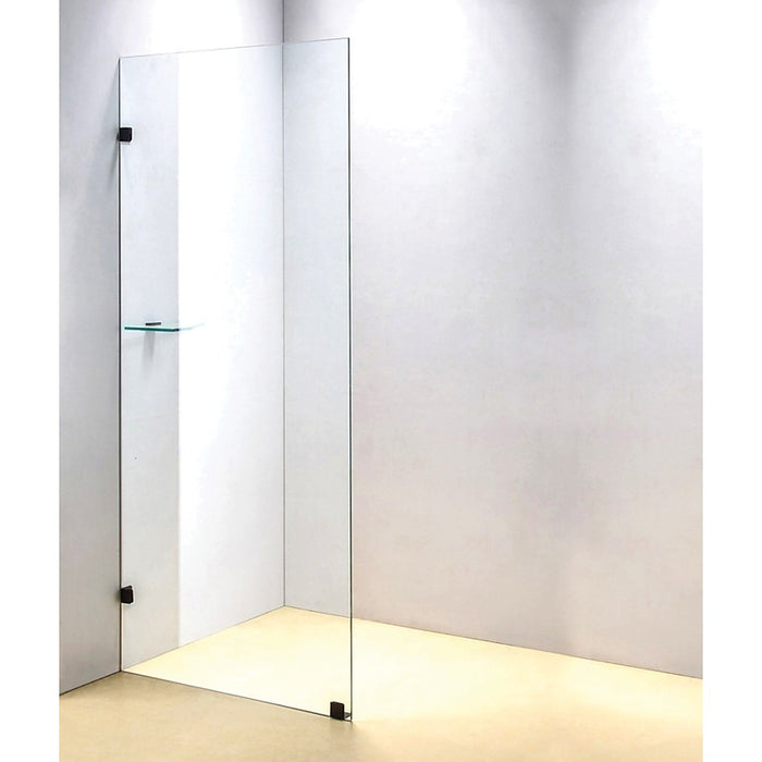 70 x 210cm Frameless 10mm Safety Glass Shower Screen Black