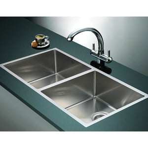 1.2mm Handmade Double Stainless Steel Sink with Waste - 865x440mm
