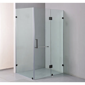 120 x 90cm Frameless 10mm Glass Shower Screen By Della Francesca Black Hinges/Brackets and Square Handle