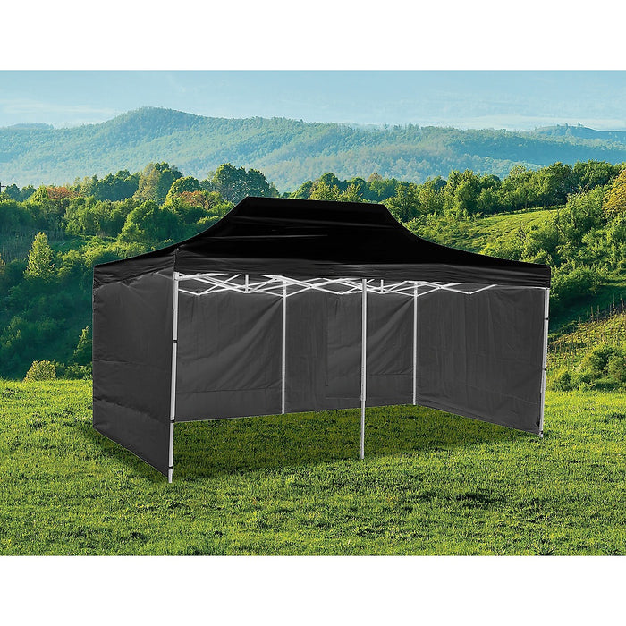 3x6m Popup Gazebo Party Tent Marquee Black