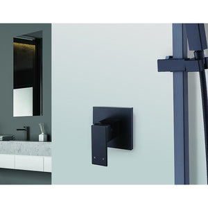 Polished Black Bathroom Shower Wall Mixer w/ WaterMark