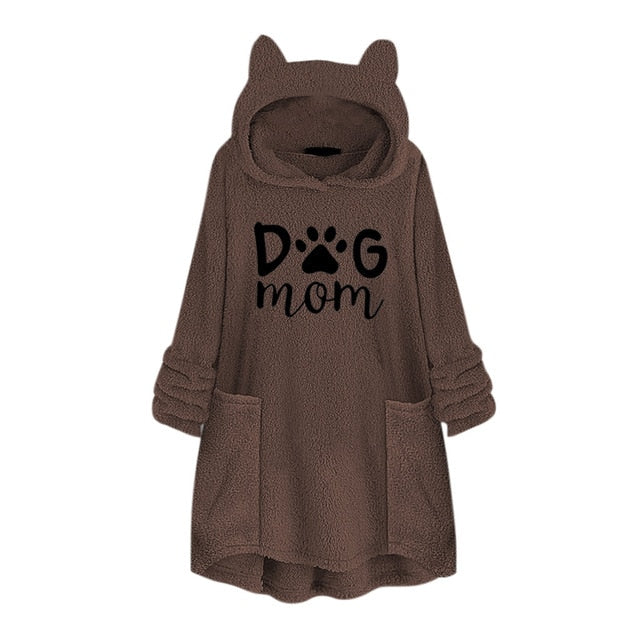 DOG MOM FLEECE OVERSIZE HOODIE WITH FLAPPY EARS