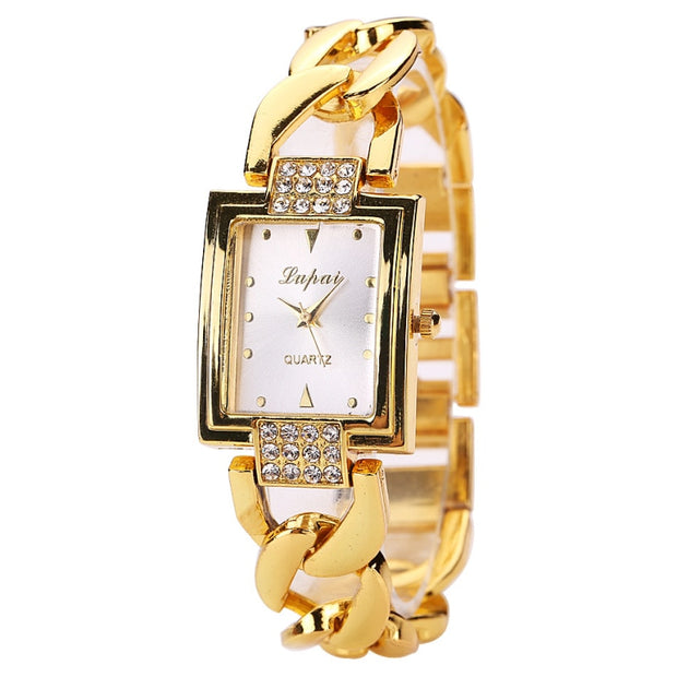 Womens Luxury Quartz Gold Watch