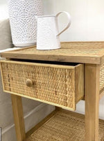 Weave Bed Side Table With Draw
