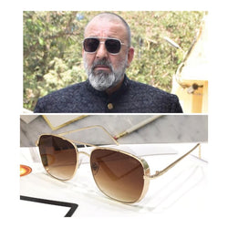 GOLDEN AND BROWN SQUARE SUNGLASSES