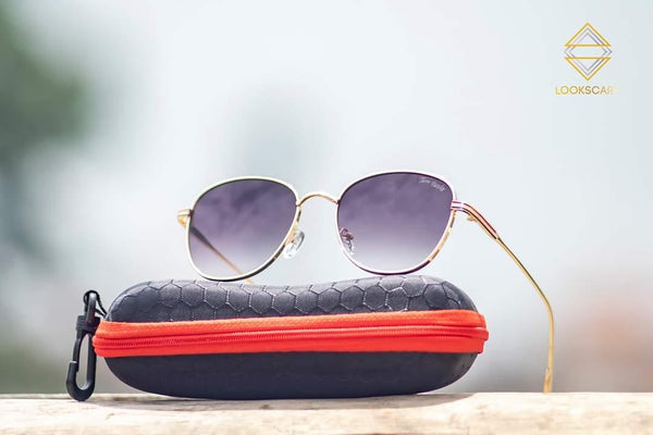 GOLDEN AND PURPLE ROUND SUNGLASSES