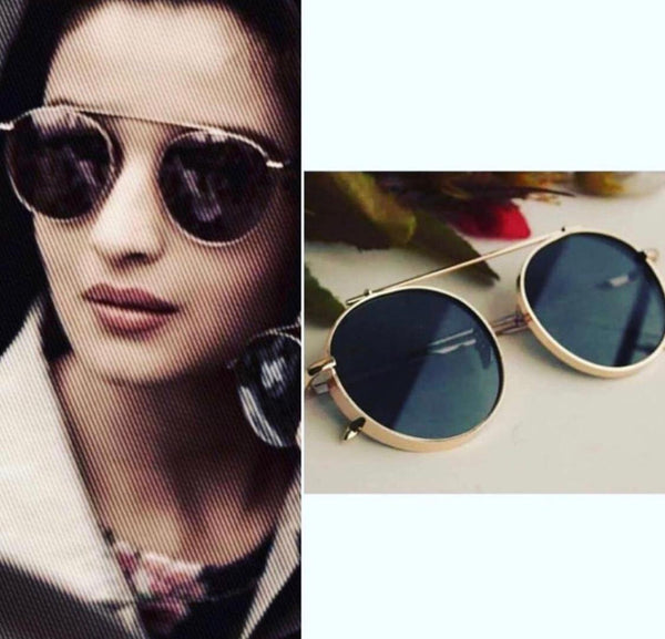 GOLDEN AND BLACK ROUND SUNGLASSES