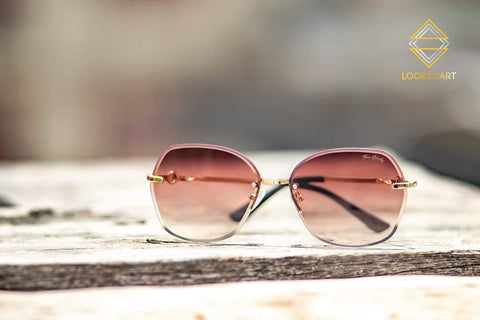 BLACK AND PEACH SQUARE SUNGLASSES