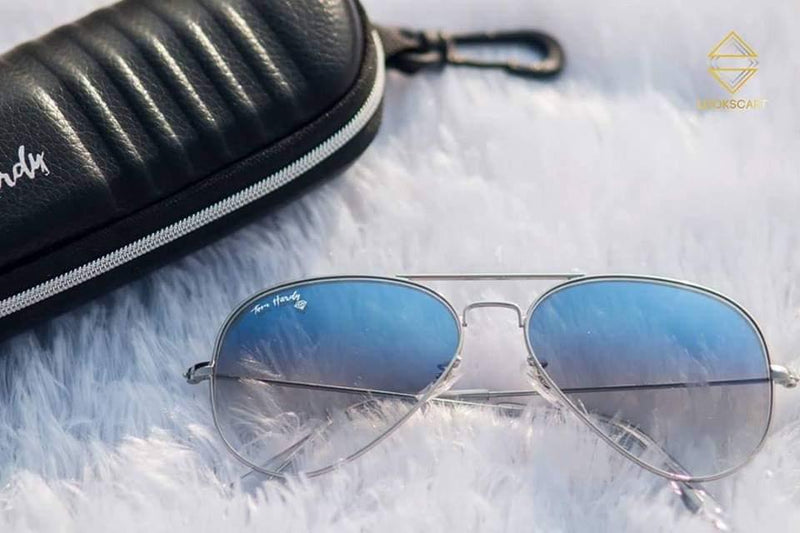 SILVER AND BLUE AVIATOR SUNGLASSES