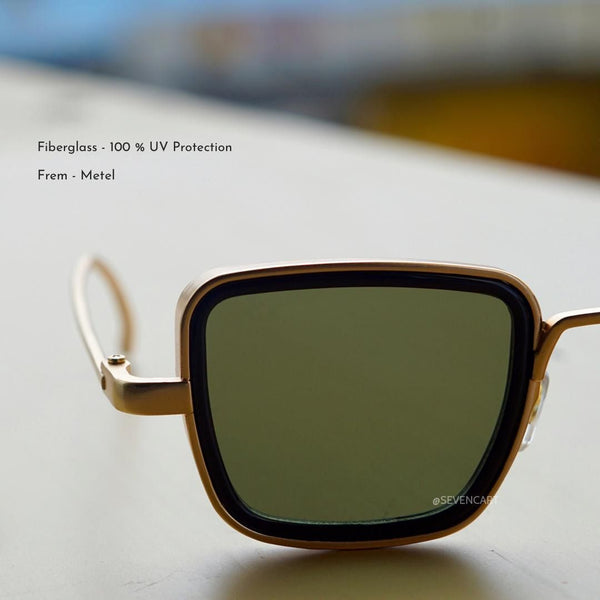 Green and Gold Retro Square Sunglasses