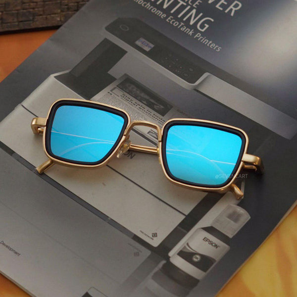 Aqua Blue and Gold Retro Square Sunglasses