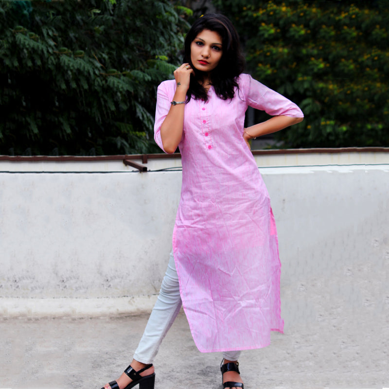 DESIGNER PINK HEAVY POLYESTER COTTON HAND WORK KURTI WITH INNER