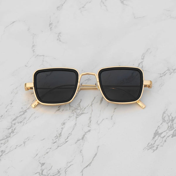 Black and Gold Retro Square Sunglasses