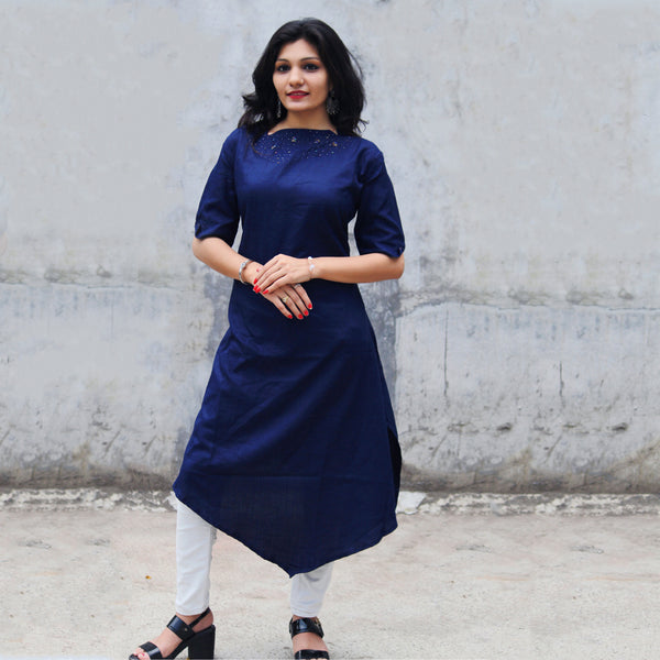DESIGNER DARK BLUE HEAVY RUBY COTTON HAND WORK KURTI WITH INNER