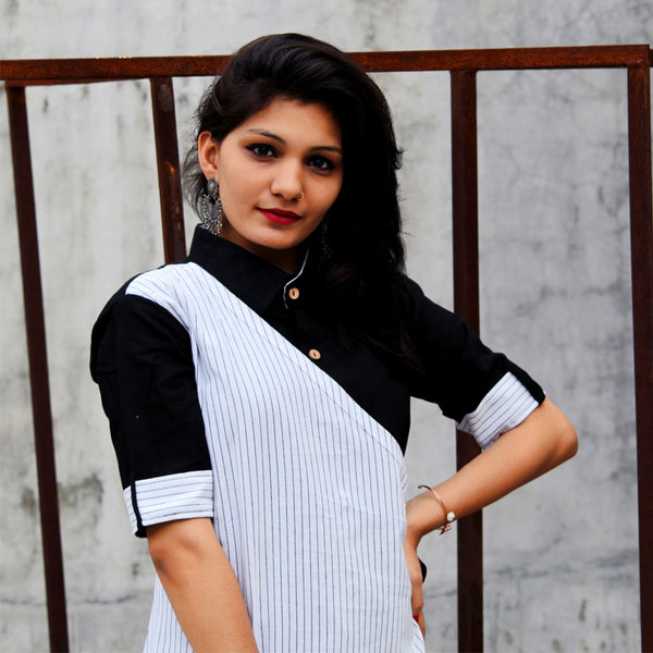 DESIGNER BLACK AND WHITE HEAVY COTTON A LINE DOUBLE LAYER KURTI WITH INNER