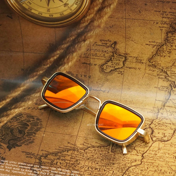 Orange Mercury and Gold Retro Square Sunglasses